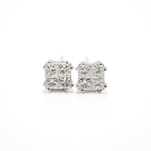 Princess Cut Diamond Earrings in 18ct White Gold