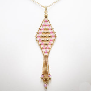 Rose Quartz Necklace in Yellow Gold
