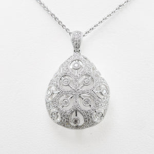 Ornate Necklace in 18ct White Gold with Diamonds
