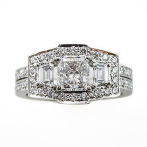 Radiant Cut Engagement Ring in Platinum