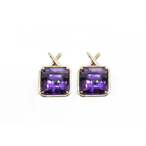 Checkerboard Cut Amethyst Earrings in 18ct yellow gold