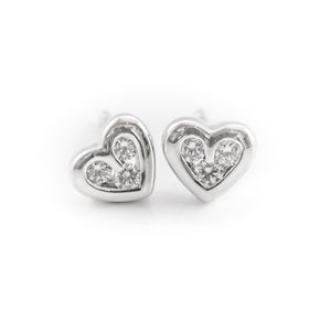 Heart Shaped Diamond Earrings in 18ct White Gold