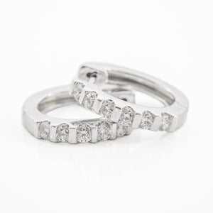 Round Brilliant Cut Diamond Hoop Earrings in White Gold