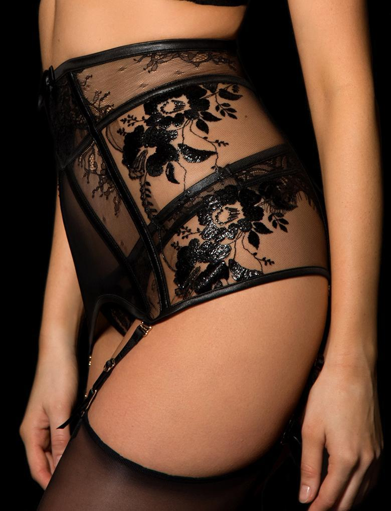 Issy Laquer Lace Suspender - Shop Lingerie | Honey Birdette