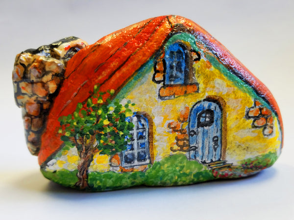 Red Roofed Fairy House Painted Rock