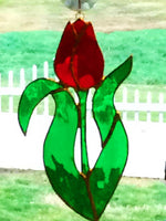 Stained Glass Classic Red Tulip