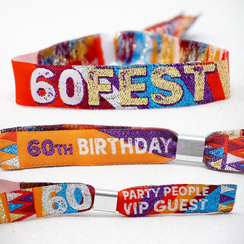60 FEST 60th birthday party festival-wristbands