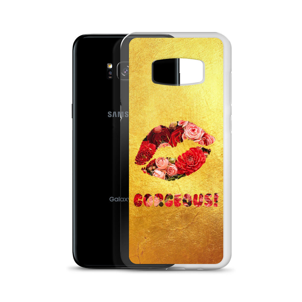 Gorgeous!™ (Gold + Red and Pink Flower Lips) Samsung Case