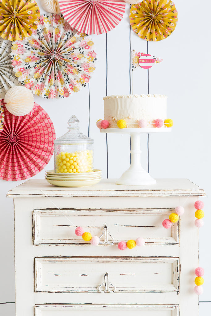 Felt Ball Garland in Pastel Pink & Yellow