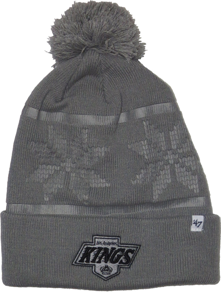 LA Kings 47 Brand Ski Track Cuff Knit Grey NHL Bobble Hat - pumpheadgear, baseball caps