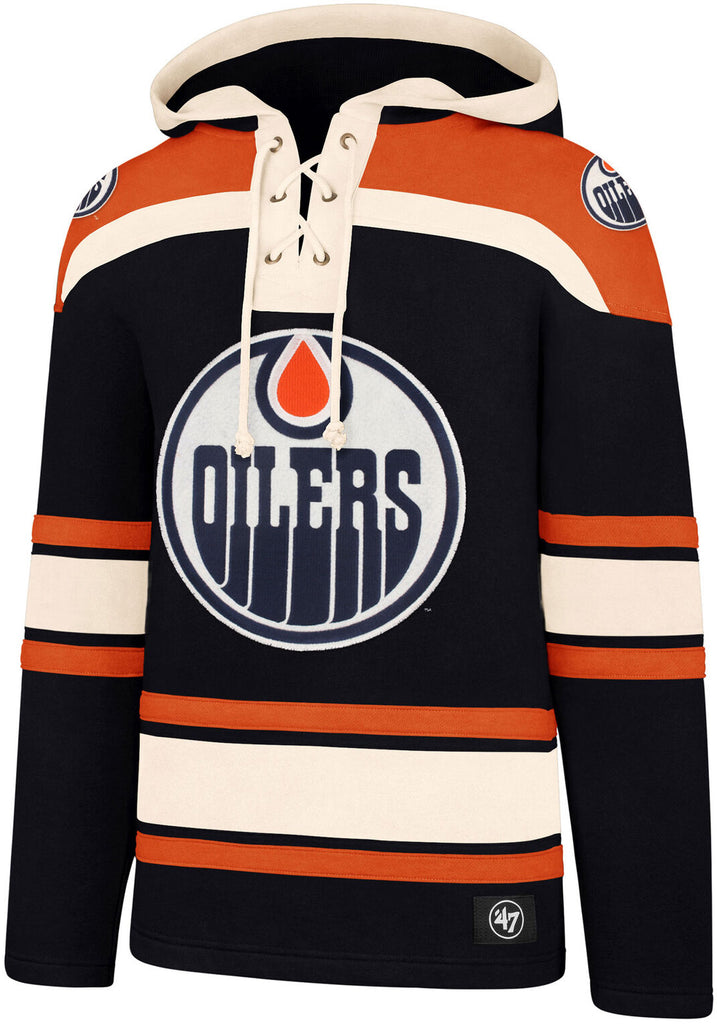 Edmonton Oilers 47 Brand NHL Team Lacer Hooded Top - pumpheadgear, baseball caps
