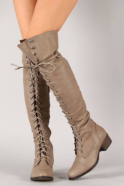 Breckelle Combat Lace Up Over-The-Knee Boots