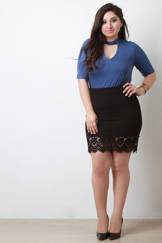 Scallop Floral Lace Hem Mini Skirt