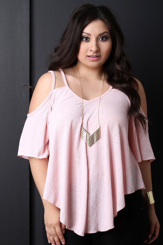 Texture Woven Cold Shoulder Ruffle Top