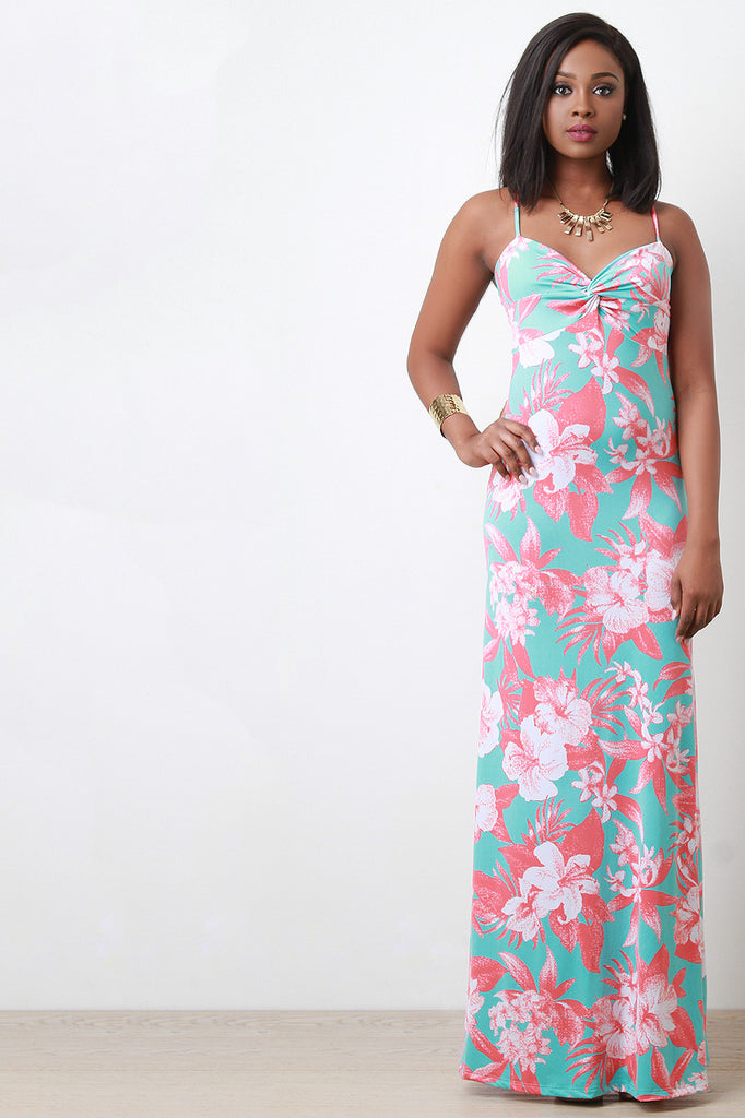 Knotted Floral Print Maxi Dress