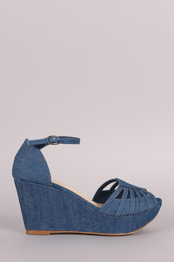 Bamboo Denim Strappy Peep Toe Platform Wedge - JDI Threads
