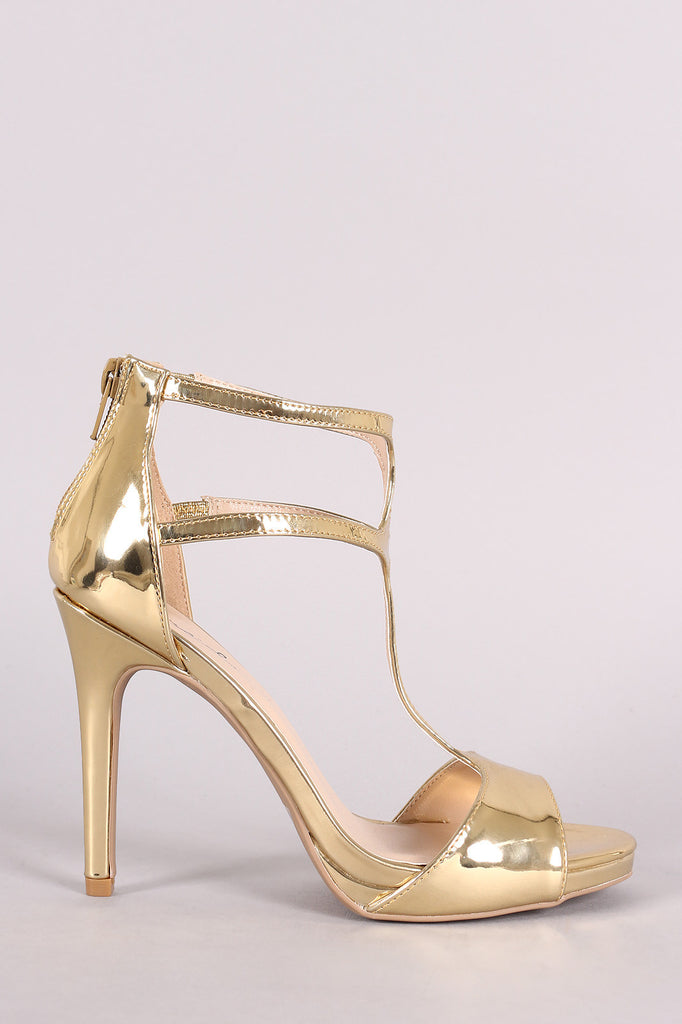 Qupid Mirror Metallic T-Strap Evening Dress Heel