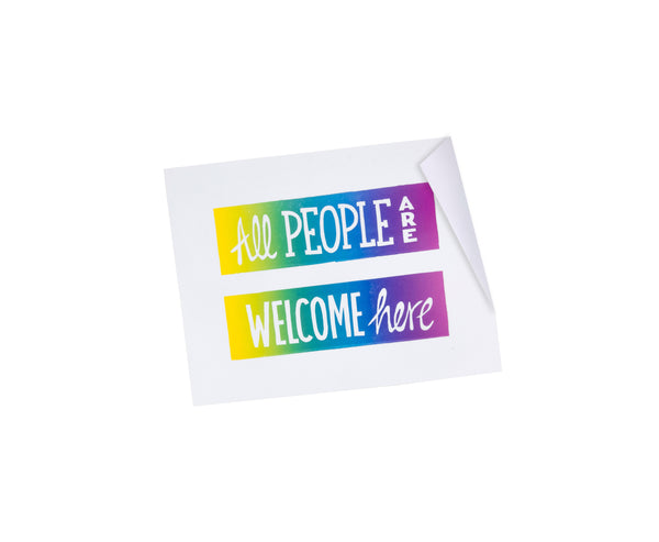 All People Are Welcome Here Stickers - 3x4