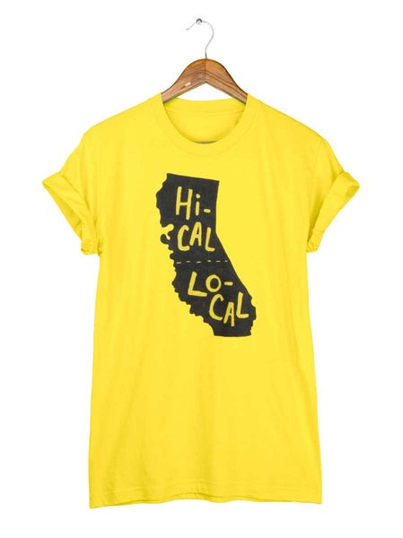California T-shirt - Hi-Cal Lo-Cal in Maize Yellow by two string jane