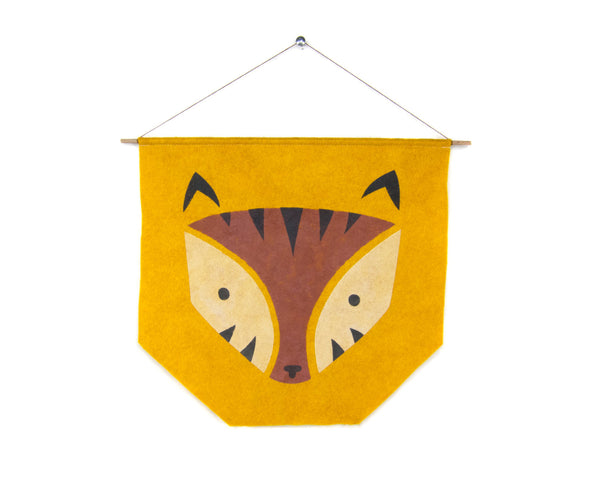 Geo Tiger Felt Banner by two string jane