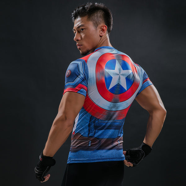 Captain America w/ Shield Superhero Short Sleeve Compression Shirt