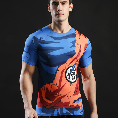 DBZ Goku Battle Torn Gi Short-Sleeve Compression Shirt