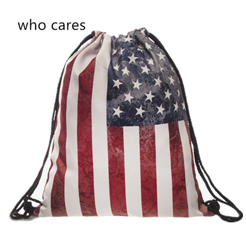 American Flag Draw Sting Bag