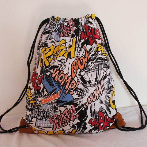 Comic Style Draw String Bag