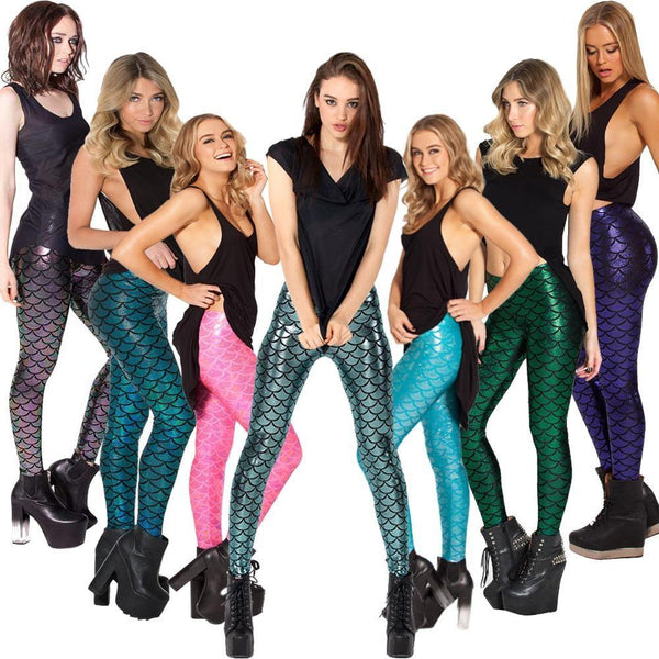 A Mermaid Legging 3D Fish Scale Printed Workout Fitness Leggings Clothing Pants Mermaid Leggings