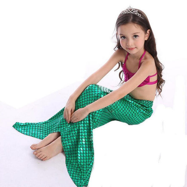 A Little Mermaid Tail Girls Swimsuit Costume Set Mermaid Dress Outfit - Scruffy Chic