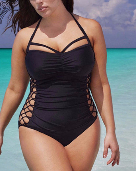 Big Girls Sexy Black Swimsuit Lace Up Side Halter Top Plus Size Bathing Suit - Scruffy Chic