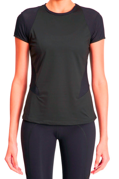 Cap Sleeve Tee with Mesh Inset Panels - Black