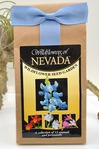 "Brown paper bag with ""Wildflowers of Nevada"" seed label."