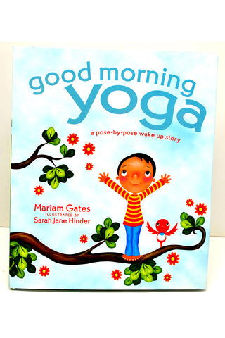 "Book with illustration of child, with ""Good Morning Yoga"" title"