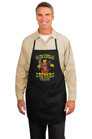 "Man wearing black version of chili pepper apron that says ""What Happens in the Kitchen Stays in the Kitchen"""