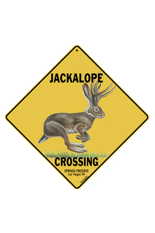 "Yellow ""crossing"" sign with image of jackalope that says ""Jackalope Crossing"""