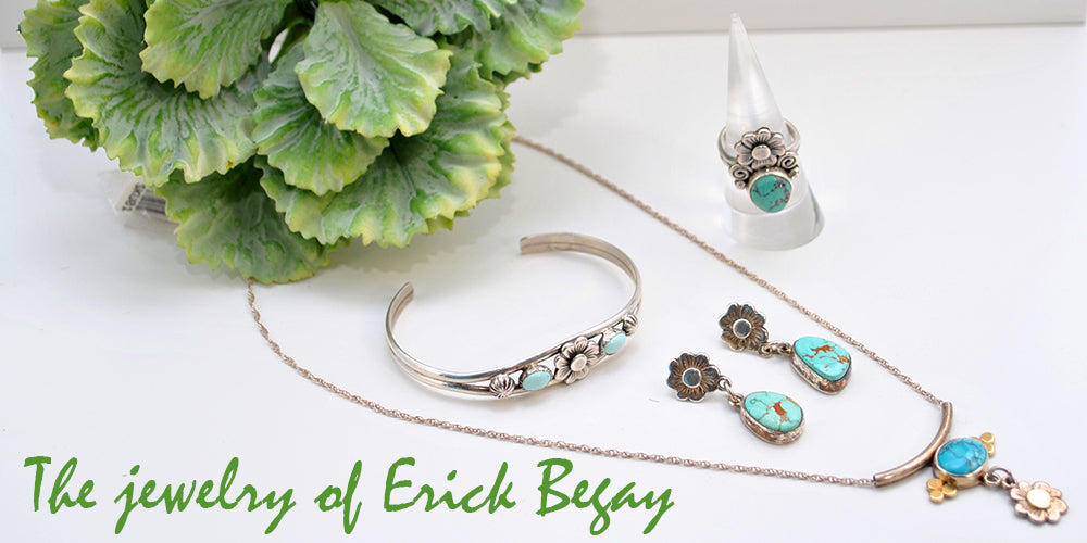 Slide 4: Turquoise and silver jewelry.