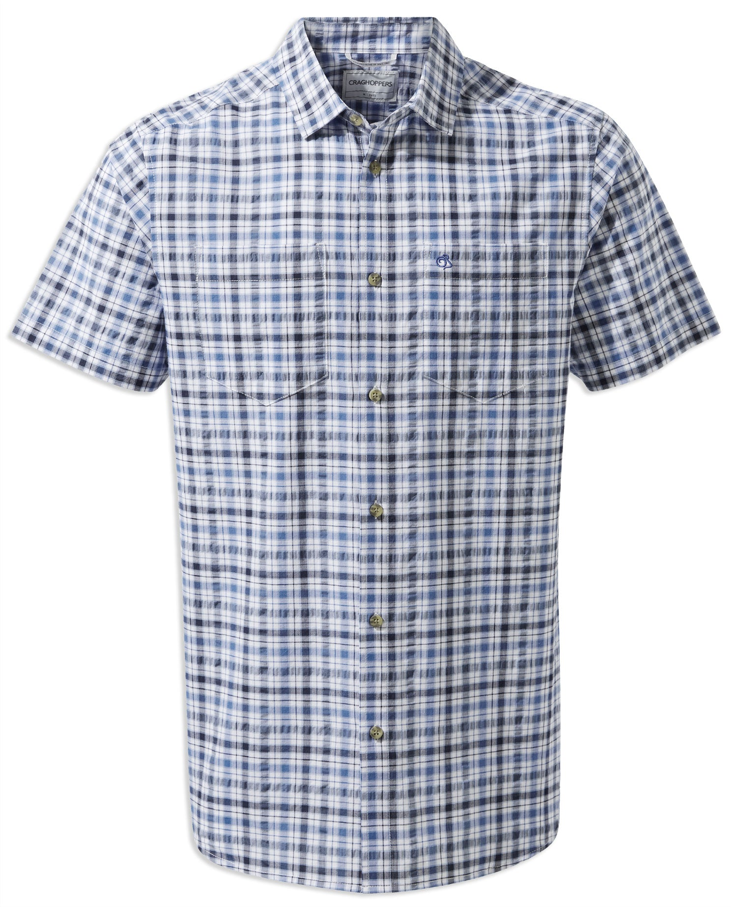 Ocean Blue Check Craghoppers Giovanni Short Sleeved Shirt