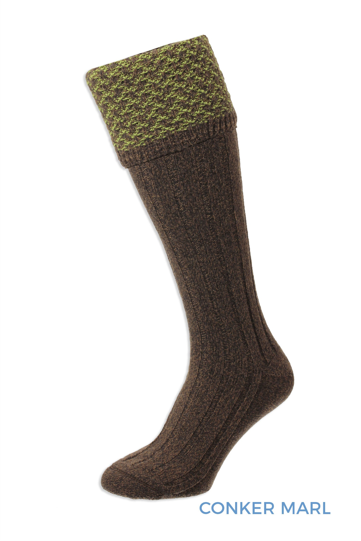 Forest Marl Honeycomb Textured Top Shooting Sock by HJ Hall