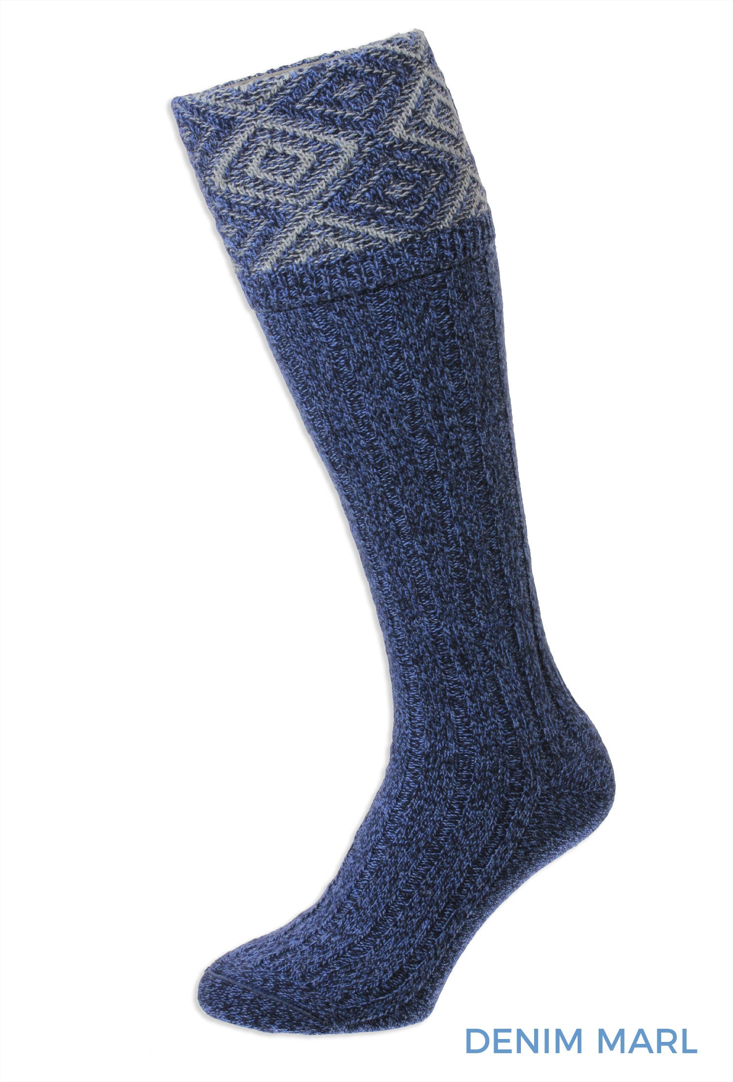 denim blue Diamond Textured Top Shooting Sock by HJ Hall