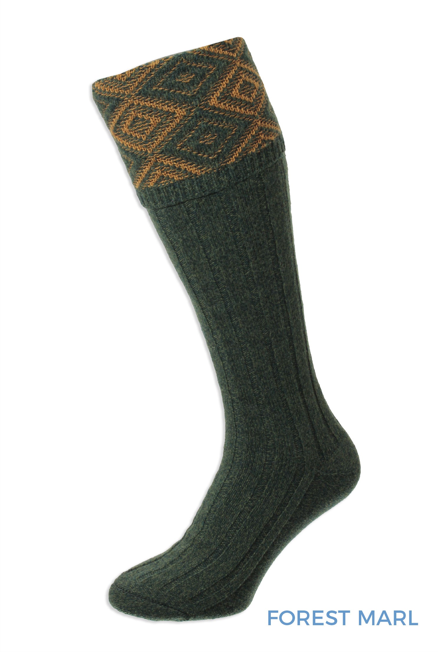Forest Green Diamond Textured Top Shooting Sock by HJ Hall