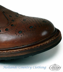 toe of traditional brogue shoe in brown leather