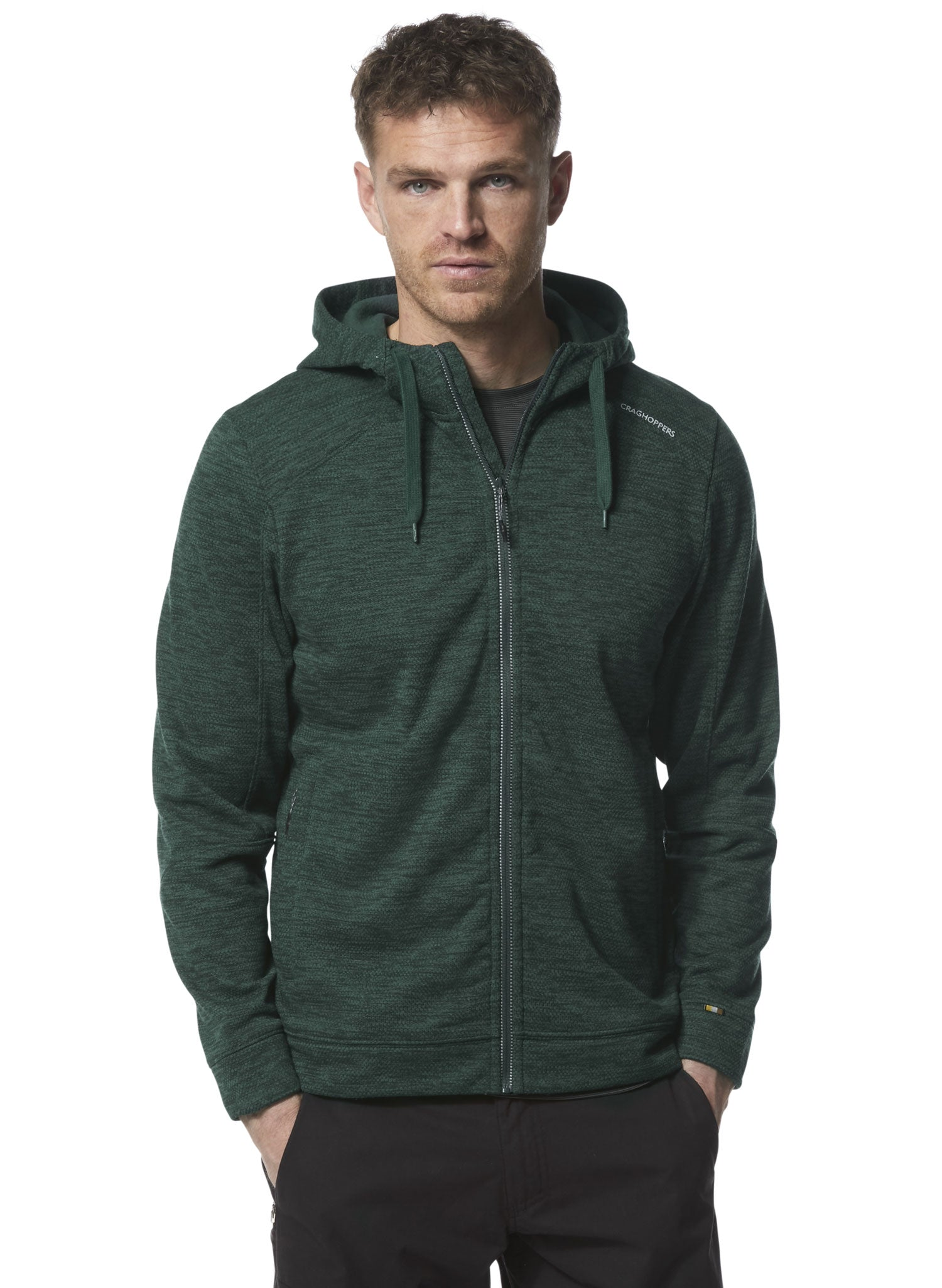 Man wearing Craghoppers Strata Hoodie in Fleece green