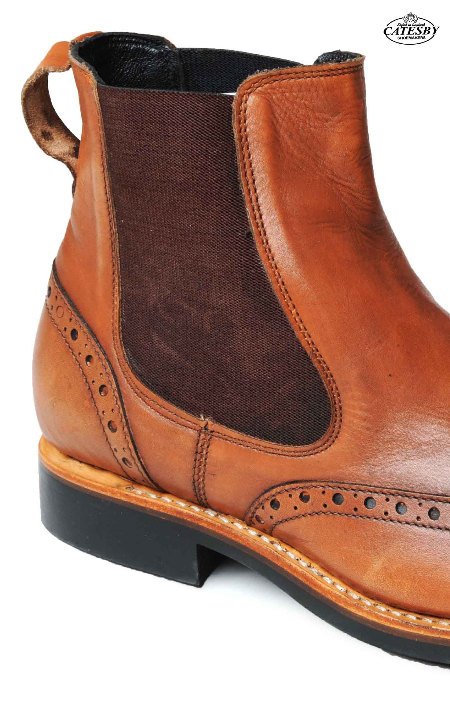 showing the traditional slip on elastic gussets for pull on boot - quick and easy, no tiresome lacing