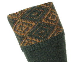 Forest Green and diamond pattern turn over for sock