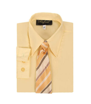 Boys Banana Yellow Long Sleeve Formal Dress Shirt and Tie
