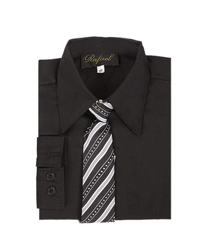 Boys Black Long Sleeve Formal Dress Shirt and Tie