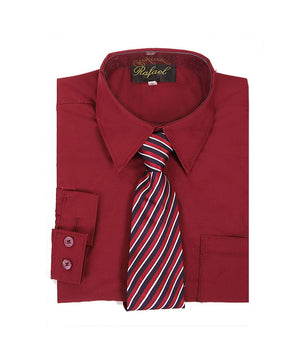 Boys Burgundy Long Sleeve Formal Dress Shirt and Tie