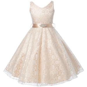 Lace Flower Girl Dresses (Champagne, Black, Ivory, White)