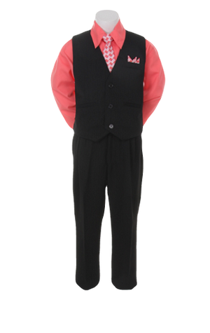 Boys Pinstripe Vest Suit with Fuchsia Shirt and Tie